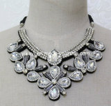 Lady Fashion White Glass Crystal Pendant Necklace Costume Jewelry (JE0208)