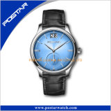Simple Design Two Hands Stainless Steel Case Leather Men′s Swiss Watch