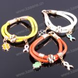 Lady′s DIY Bracelet Fashion Metal Charm Braided Cord Bracelet