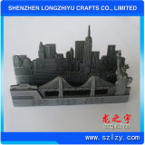 3D Cutout Building Antique Silver Die Cast Business Card Holder