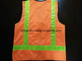 Safety Vest with Flu Yellow Crystal Tape 100%Polyester Knitting Fabric