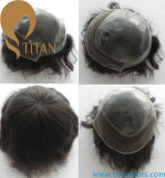 Indian Remy Human Hair Thin Skin Lace Toupee for Men
