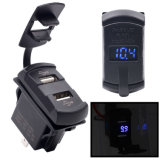 12-24V Motorcycle Car Boat USB Power Socket Plug Outlet with Voltmeter Blue