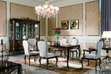 E70-1 High Gloss Luxury Solid Wood Golden Lacquered Hand Carved Dining Tables