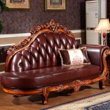 Authentic Leather Chaise Sofa for Living Room (92D)