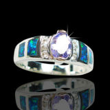 Hot Selling Factory Price Blue Fire Opal Rings