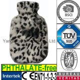 CE Plush Faux Fur Hot Water Bottle Cover Leopard