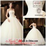 Ball Gown Strapless Floor Length Taffeta Tulle Wedding Dress with Handmade Flower (8141)