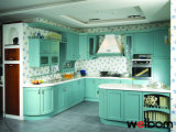 2015 New Welbom Solid Wood Cyan Kitchen Cabinet House Designs