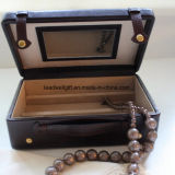 Brown Leather Vintage Jewelry Box, Travel Case with Mirror