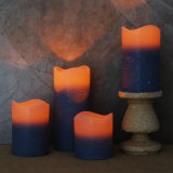 Purple Wavy Top Battery Operated Flameless LED Wax Christmas Pillar Candle