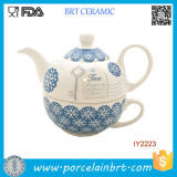 Two in One Blue Cup and Pot Ceramic Tea Set