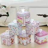 Crystal Handles Retro Style Sweets Tin Canister Sewing Box