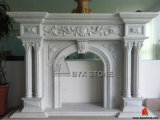White Marble Fireplace with Flower Carved for Home Furniture