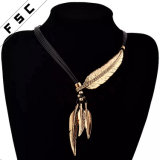 Daily Wear Adjustable Leather Cord Feather Pendant Leaf Sweater Necklace