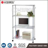 Hot Sale 4 Tiers Adjustable Household Chrome Steel Storage Rack Shelf with Wheels
