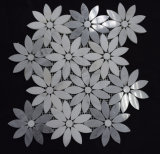 Chinese Cheap White and Grey Marble Mixed Color Flower Mosaic Tiles