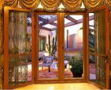 Luxury High Quality Wood Grain Color Thermal Break Aluminum Casement Glass Door (ACD-027)