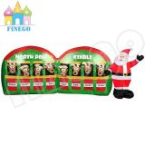 Christmas Inflatable Santa Reindeer North Pole Stable
