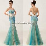 Rhinestones Ladies Dress Mermaid Spaghetti Evening Formal Gowns Z610