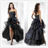 2014 Ball Gown Strapless Sleeveless Ruffle Beaded Empire Waist Organza Short Front Long Back Pprom Dress (hs088)
