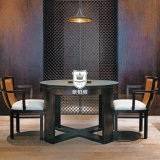 Hotel Ebony Round Wood Dining Table Designs with Cross Base