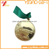 Hot Sell Embossed Gold Metal Badge with Ribbon