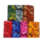 New Popular Rose Printed Voile Scarves in Stock