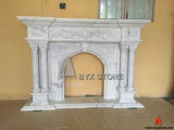 Cararra White Marble Flower Carving Fireplace for House Decoration