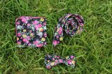 Printed Floral Casual Tie Bow Tie Set with Matching Pocket Square