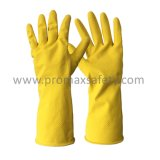 45g Cotton Flocked Yellow Household Latex Glove Ce with Certificate
