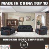 Genuine Black Color Leather Wooden Sofa
