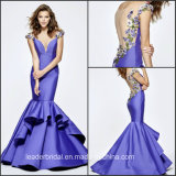 Flower Prom Party Gowns Purple Satin Mermaid Evening Dress Ld15297
