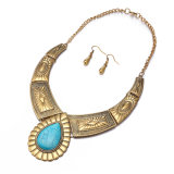 Jewelry Sets Retro Bronze Calaite Necklace and Earrings Exaggerated Design for Women