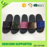 Fashion Lady Hot Sell Suede Slipper Summer Slides Sandals Slipper with Diamond