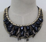 Fashion Beaded Crystal Chunky Choker Necklace Collar Costume Jewelry (JE0109-1)