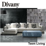 Fabric Real Leather Combination Soft Corner Sofa (D-45)