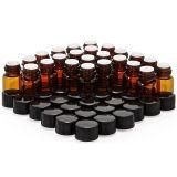 1 Ml (1/4 DRAM) Amber Glass Vial with Orifice Reducer & Black Plastic Cap