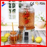 Glass Mason Jar Beverage Juice Dispenser with Tap
