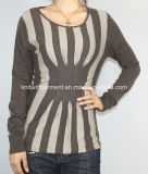 Women Fashion Knitted Round Neck Long Sleeve Sweater Clothes (12AW-084)