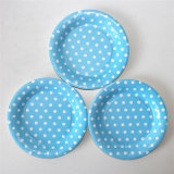 "7"" Party Paper Plate, Round Polka Blue DOT Paper Plates"