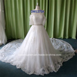 A-Line Lace Bridal Gown Longtulle Crystal Sash Wedding Dresses