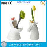 Popular White Hippo Shape Tdual-Use Ceramic Planter Pot