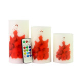 Red Dancing Girl Stickers Flameless Battery LED Candle for Wedding