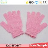 Pink Shower Nylon Wash SPA Bath Glove Exfoliating Body Scrubber (JMC-429B)