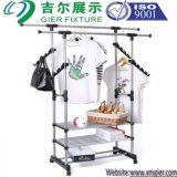 Steel Rack Multifunctional Garment Display Stand Clothes Hanging Shelf (GDS-065)