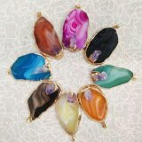 Mulit Color Natural Stone Irregular Agate Charms Gold Pendants