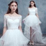 off-The-Shoulder Short Sleeves High-Low Asymmetry Wedding Dress (Dream-100082)