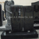 Shanxi Black Granite Angel with Book Tombstone
