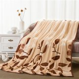 Hot Sale Leaf design Printing Soft Plush Mink Fleece Blanket